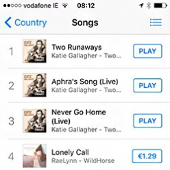 Downda Road Productions - Katie on the top of iTunes Charts